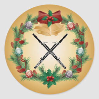 バスーン音楽クリスマスのリースのギフト ラウンドシール