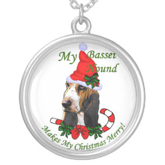 バセットハウンドのクリスマスのギフト シルバープレートネックレス