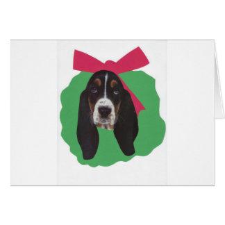 バセットハウンドのクリスマスのリース カード