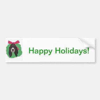 バセットハウンドのクリスマスのリース バンパーステッカー