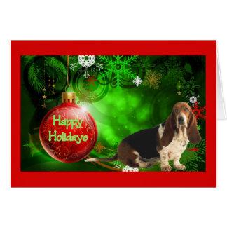 バセットハウンドのクリスマスカードの幸せな休日の球 カード