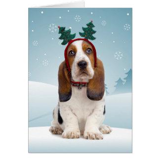 バセットハウンドのクリスマスカード カード