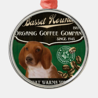 バセットハウンドのブランド- Organic Coffee Company メタルオーナメント