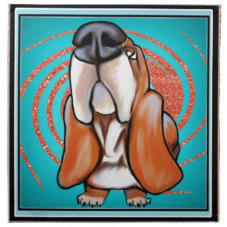 バセットハウンドのポップアートの抽象芸術のグリッターの名前 ナプキンクロス