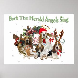 バセットハウンドの吠え声の布告者の天使は歌います ポスター