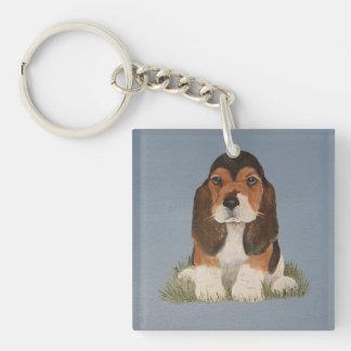 バセットハウンドの子犬のキーホルダー キーホルダー