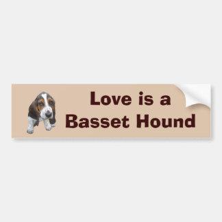 バセットハウンドの子犬のバンパーステッカー バンパーステッカー