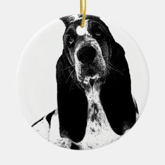 バセットハウンドの子犬のフランス語 セラミックオーナメント