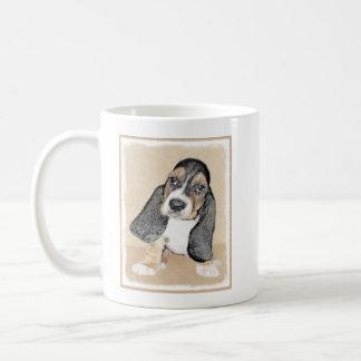 バセットハウンドの子犬の絵画-かわいい元の芸術 コーヒーマグカップ