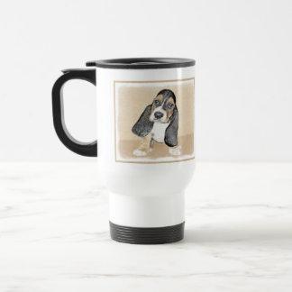 バセットハウンドの子犬の絵画-かわいい元の芸術 トラベルマグ
