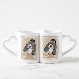 バセットハウンドの子犬の絵画-かわいい元の芸術 ペアカップ