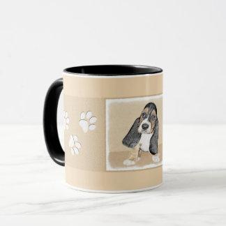 バセットハウンドの子犬の絵画-かわいい元の芸術 マグカップ