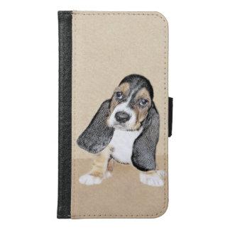 バセットハウンドの子犬の絵画-かわいい元の芸術 GALAXY S6 ウォレットケース