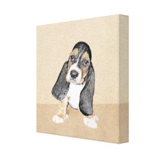 バセットハウンドの子犬の絵画-元の犬の芸術 キャンバスプリント