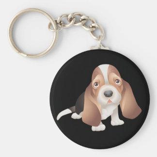 バセットハウンドの小犬のキーホルダー キーホルダー