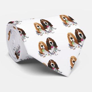バセットハウンドの平和愛喜びのクリスマスのデザイン ネクタイ