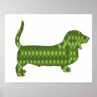 バセットハウンドの緑 ポスター
