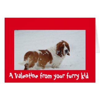 バセットハウンドを持つ犬からのバレンタイン カード