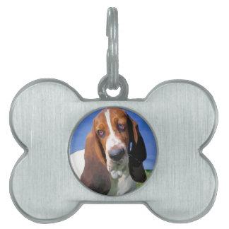 バセットハウンド犬のデザイン ペットネームタグ