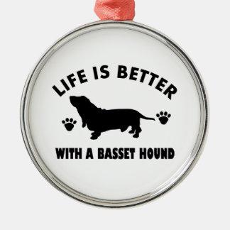バセットハウンド犬のデザイン メタルオーナメント