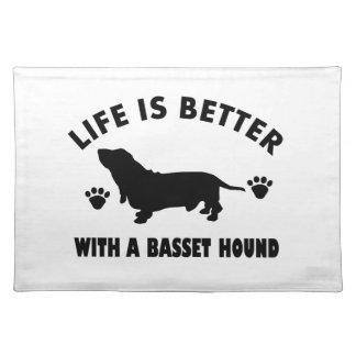 バセットハウンド犬のデザイン ランチョンマット