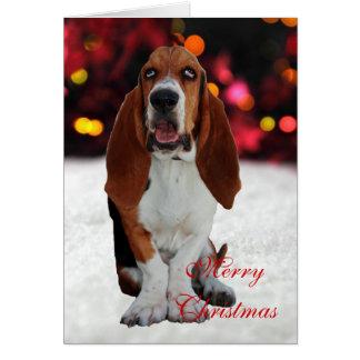 バセットハウンド犬の写真のカスタムなクリスマスカード カード