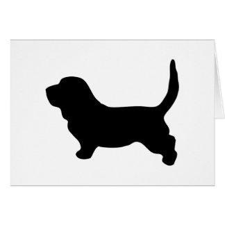 バセットハウンド犬の黒のシルエットの空白のなカード カード