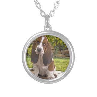 バセットハウンド犬 シルバープレートネックレス