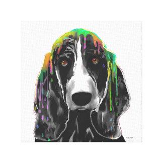 バセットハウンド犬-伸ばされたキャンバスのプリント キャンバスプリント