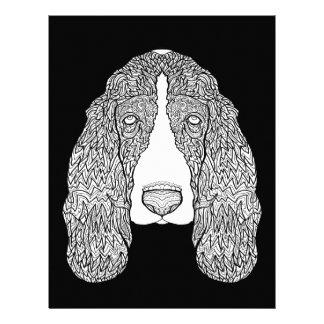 バセットハウンド-白黒犬の絵 レターヘッド