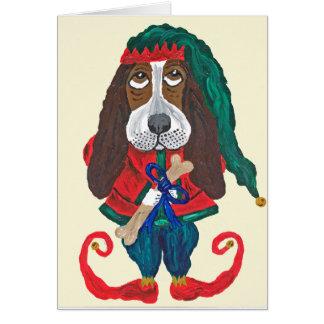 バセット犬のサンタの助手のクリスマスの小妖精や小人 カード