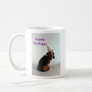 バセット犬の誕生日犬 コーヒーマグカップ