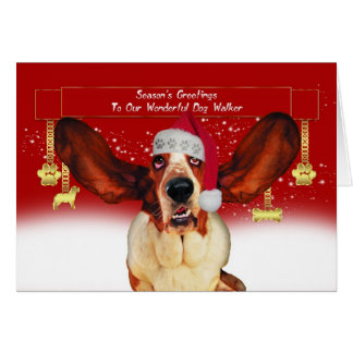 バセット犬のhounが付いているドッグウォーカーのクリスマスの休日カード カード