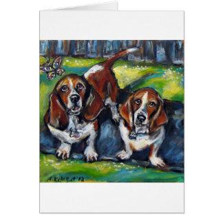 バセット犬マーフィー及びMaddy カード