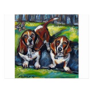 バセット犬マーフィー及びMaddy ポストカード