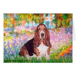 バセット犬1 -庭 カード