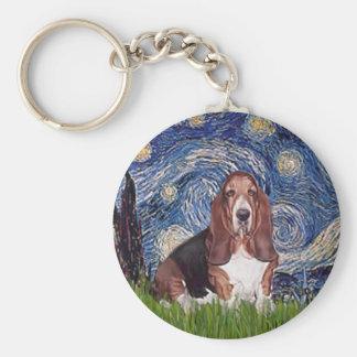 バセット犬1 -星明かりの夜 キーホルダー