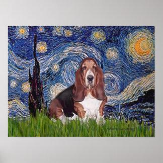 バセット犬1 -星明かりの夜 ポスター