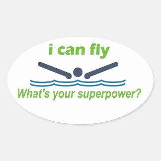 バタフライの泳ぐ人のための素晴らしいギフト! 楕円形シール