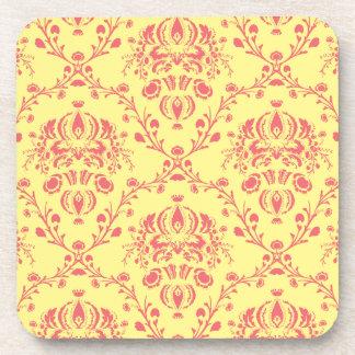 バターおよびクランベリーのダマスク織 コースター
