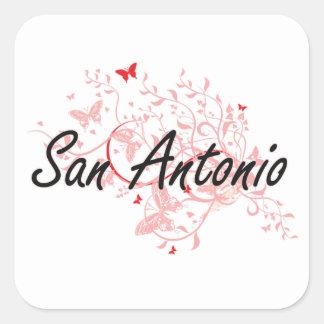バターとのサン・アントニオテキサス州都市芸術的なデザイン 正方形シール・ステッカー