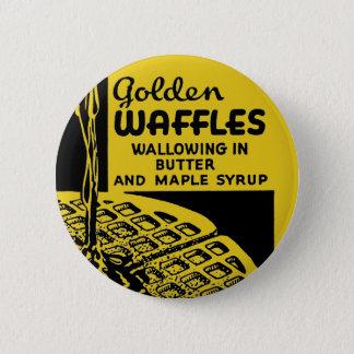 バターに耽る金ワッフル 5.7CM 丸型バッジ