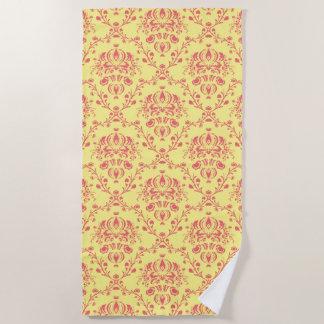 バタークランベリーのダマスク織 ビーチタオル