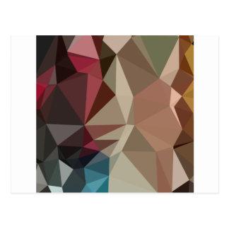 バタースコッチのブラウンの抽象的で低い多角形の背景 ポストカード
