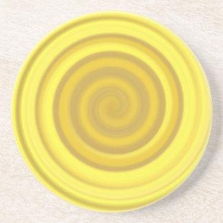 バタースコッチの黄色のレトロキャンデーの渦巻 コースター