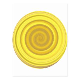 バタースコッチの黄色のレトロキャンデーの渦巻 ポストカード