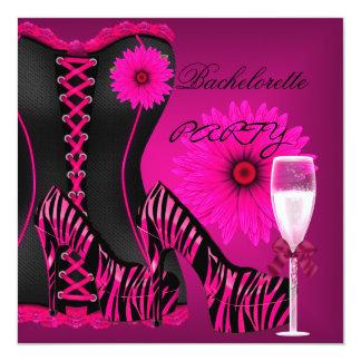 バチェロレッテのコルセットのシマウマの黒のピンクの靴 カード