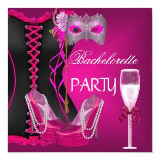 バチェロレッテのコルセットの黒のピンクはマスクに蹄鉄を打ちます カード