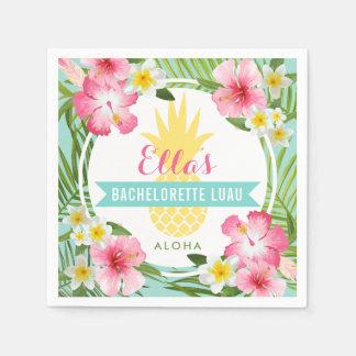 バチェロレッテのルアウ(ハワイ式宴会)  の熱帯パイナップル花 スタンダードカクテルナプキン