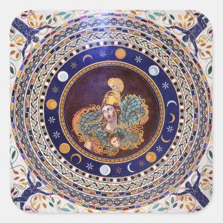 バチカン博物館のアテーナーのモザイク 正方形シールステッカー